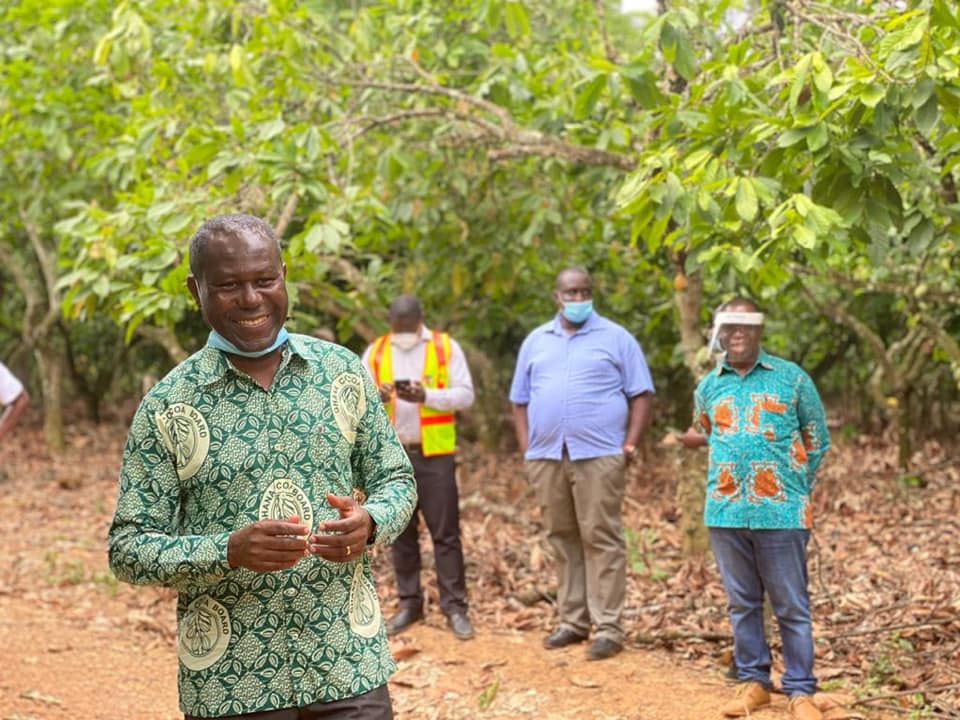 COCOBOD CHIEF EXECUTIVE INSPECTS ONGOING MASS PRUNING EXERCISE