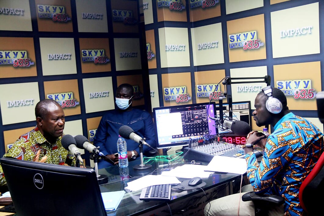 HON. AIDOO AT THE STUDIO OF SKYY POWER 93.5 FM